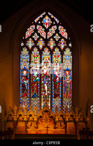 A stained glass window in the parish church of St. Peter and St. Paul in Lavenham , Suffolk , England , Britain - Stock Photo