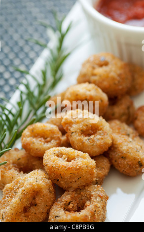 Calamari appetizer with marinara sauce - Stock Photo