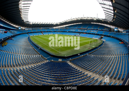 The City of Manchester Stadium, also known as the Etihad Stadium or Eastlands, the home ground of Manchester City - Stock Photo
