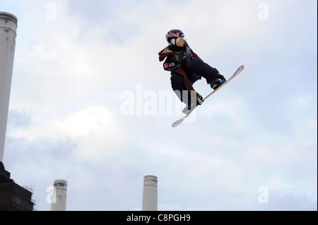 London, UK, 29/10/11 Relentless Freeze Festival, Battersea Power Station, LG Snowboard FIS 4th placed Jamie Nicholls - Stock Photo