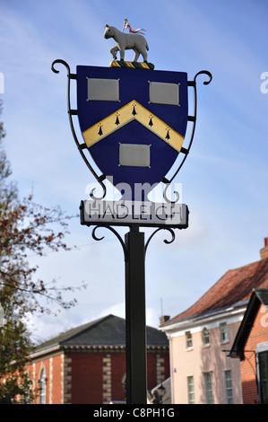 Town sign, High Street, Hadleigh, Suffolk, England, United Kingdom - Stock Photo