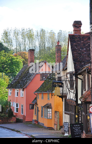 The Bell Inn and houses on The Street, Kersey, Suffolk, England, United Kingdom - Stock Photo