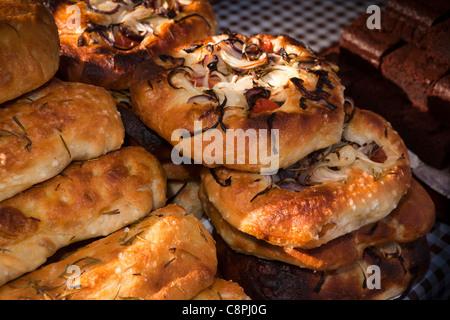 UK, Nottinghamshire, Nottingham, Old Market Square, world village market, delicious foccacia bread for sale - Stock Photo