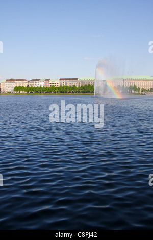 View of the Alster Lake in Hamburg, Germany - Stock Photo