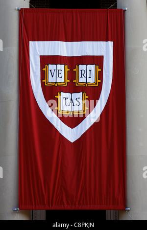 A Harvard 'Veritas' banner at Harvard Univeristy on Commencement (graduation) 2011. - Stock Photo