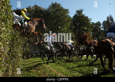 Famous annual steeplechase cross-country run Velka Pardubicka in Pardubice, Czech Republic on 10 October 2010. - Stock Photo