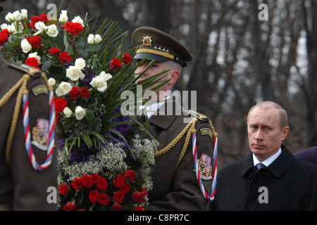 Russian president Vladimir Putin visits the Soviet War Memorial at Olsany cemetery in Prague, Czech Republic on - Stock Photo