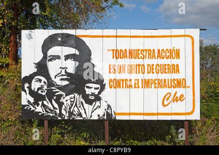 PINAR DEL RIO: COMMUNIST BILLBOARD - Stock Photo