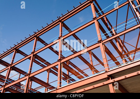 Steel frame of a building under construction - Stock Photo