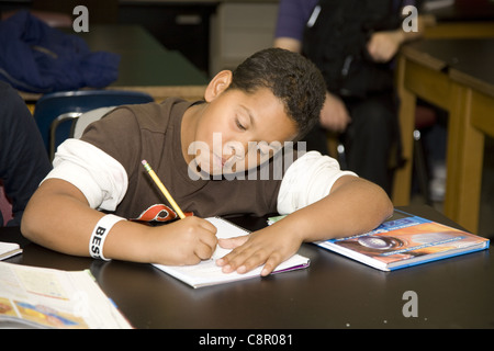 Children at a multiethnic, inner city, overcrowded junior high school in Yonkers, New York. - Stock Photo