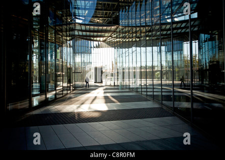 entrance to the Post Tower, the headquarters of the logistic company Deutsche Post DHL in Bonn, North Rhine-Westphalia, Germany, Stock Photo
