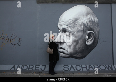 Andrei Sakharov pictured by Russian artist Dmitri Vrubel on the Berlin Wall in East Side Gallery in Berlin, Germany. - Stock Photo