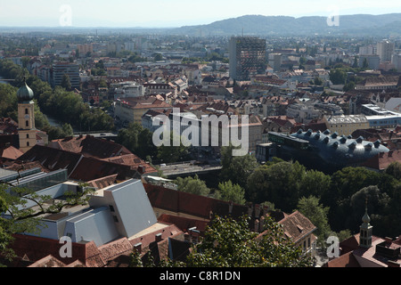 Aerial view of the historical centre of Graz from the Grazer Schlossberg in Graz, Austria. - Stock Photo
