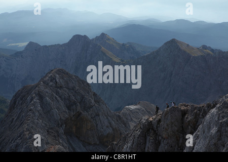 View from the summit of Mount Triglav (2,864 m) in the Julian Alps, Slovenia. - Stock Photo