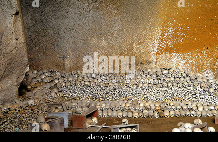 Naples, Italy : Cemetery of Fontanelle, the ossuary - Stock Photo