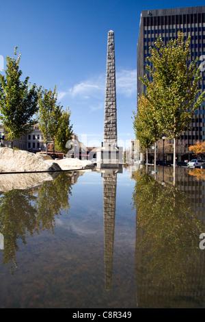 Vance Monument in Pack Square - Asheville, North Carolina USA - Stock Photo
