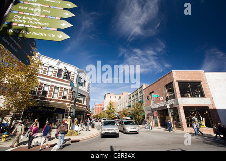 Downtown Asheville, North Carolina USA - Stock Photo