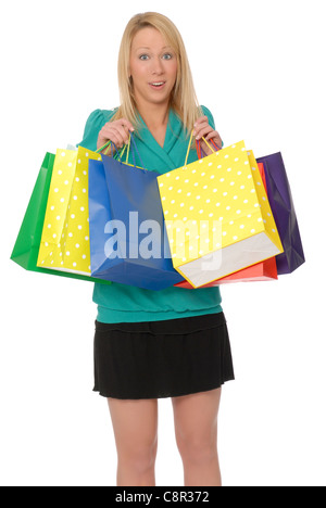 Excited, Surprised or Shocked Woman With Shopping Bags - Stock Photo
