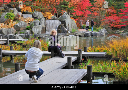 Tourist posing for camera on wooden gangway in Japanese garden with tree foliage in red autumn colours in Hasselt, - Stock Photo