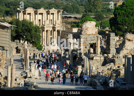 EPHESUS (EFES), TURKEY. A view down Curetes Way to the Library of Celsus. 2011. - Stock Photo