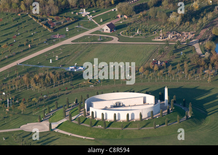 Aerial view of the National Memorial Arboretum on Croxall Road Alrewas near Lichfield Staffordshire England - Stock Photo