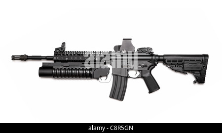 US Spec Ops M4A1 assault rifle with RIS/RAS, grenade launcher and tactical holographic sight. Isolated on a white - Stock Photo