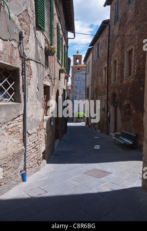 Typical view of a medieval walled city narrow street lined with multi-storied buildings in Chianciano Terme, Umbria, - Stock Photo