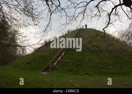 One of the three Romano-Celtic burial mounds at Bartlow Hills in Cambridgeshire - Stock Photo