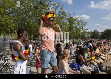 Karaoke drum performance at Mauerpark Prenzlauer Berg, Berlin - Stock Photo