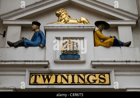 Facade of the Old Twinings shop on the Strand in Aldwych, London - Stock Photo
