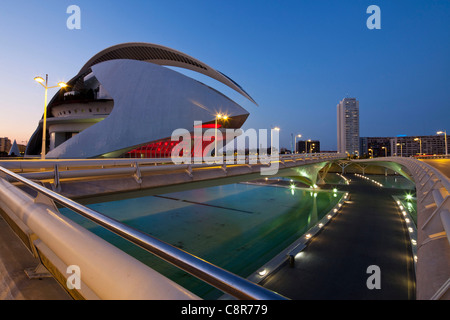 The Palau de les Arts Reina Sofia by Calatrava, , Valencia, Spain - Stock Photo