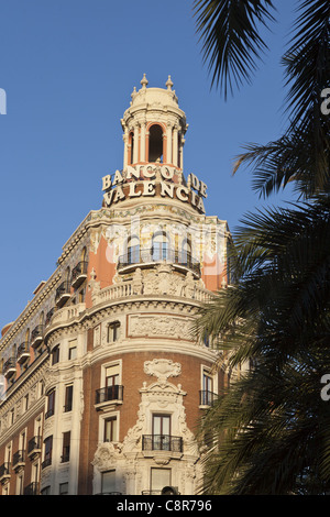 Banco de Valencia building, art deco, Valencia, Spain - Stock Photo
