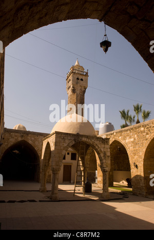 Courtyard of the 14th century Al Tawbat Mosque, old city, Tripoli, northern Lebanon. - Stock Photo