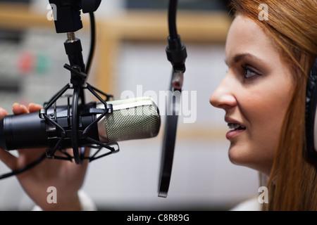 Radio host speaking - Stock Photo