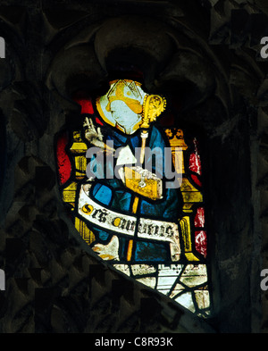 Wiggenhall St. Mary Magdalene, Norfolk, St. Cuthbert, Bishop of Hexham, d. 687 English medieval stained glass window - Stock Photo