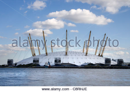 the O2 arena on the south bank of the river thames in london england - Stock Photo