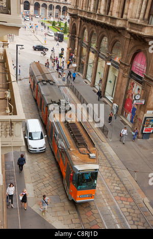 View from above of a streetcar moving on Giuseppe Mazzini street. Milan, Italy. - Stock Photo