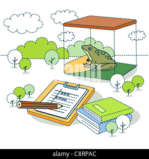 Illustration of frog for scientific experiment with books - Stock Photo