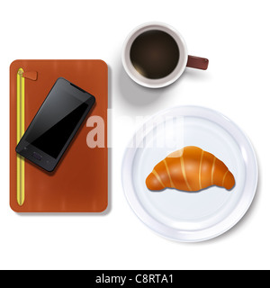Diary And Cell Phone With Breakfast - Stock Photo