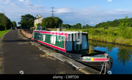Narrowboat on Rochdale Canal, Lancashire - Stock Photo