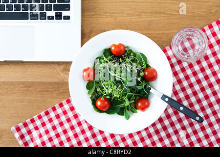 Close-up of Daikon Radish Sprouts with tomato in plate and laptop - Stock Photo