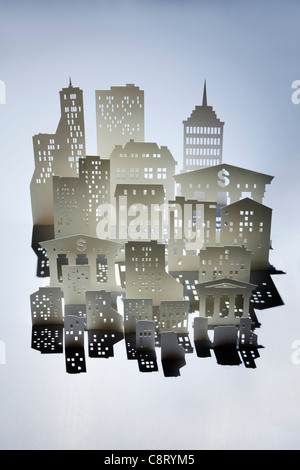 Model of city against colored background - Stock Photo