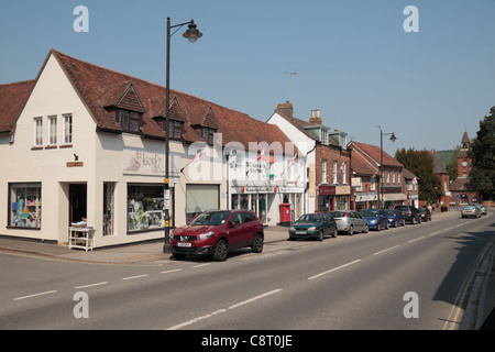 General view of the small shops on High Street in Wendover town centre, Buckinghamshire, UK. - Stock Photo