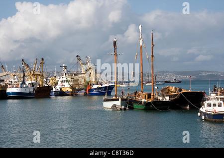 Fishing vessels in Brixham Harbour,Devon, fishing, harbor, Beam Trawlers,Devon,Brixham fishing fleet,scallop wars,mollusc - Stock Photo