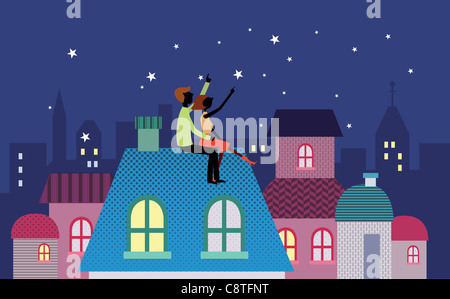 Couple On Roof Of House - Stock Photo
