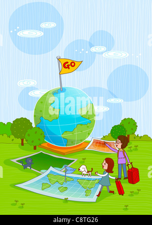 Couple With Luggage And Globe With Go Sign - Stock Photo