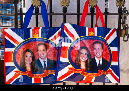 British Royal Wedding 2011, Catherine and William printed on souvenir bags. - Stock Photo