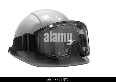 Build helmet with goggles on white. Black and white photo - Stock Photo