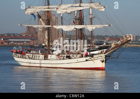 Two masted Brig, ASTRID, built in 1918, waiting to Enter the Canning Dock, Liverpool, Merseyside, England. UK. April - Stock Photo