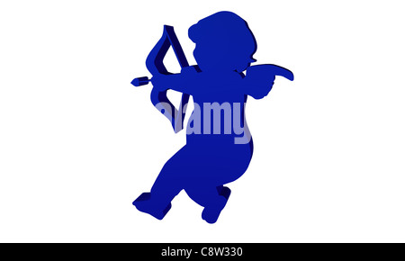 Angel render in 3D in blue color - Stock Photo